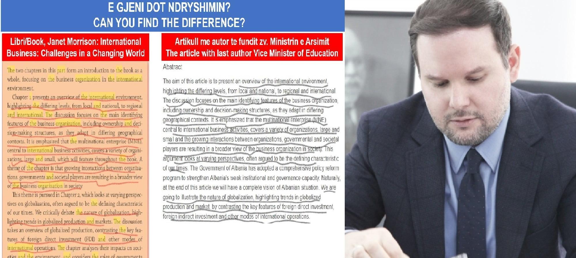 Shënim: Një Zv. Ministër i akuzuar për plagjiaturë dhe disa politika të Ministrisë së tij